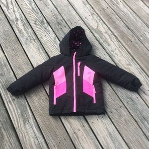 EUC Pink and Black Winter Snow Coat Zip Out Liner